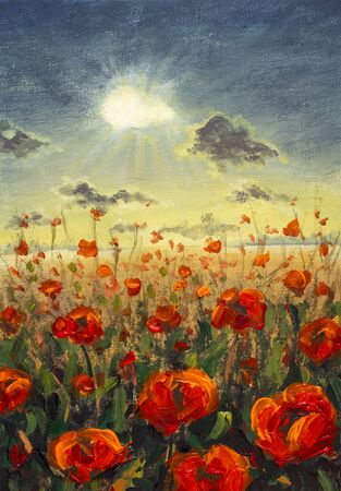 Field of red poppies flowers Impressionism modern oil painting - red flowers poppies Sun rays and clouds illustration. Flower modern landscape artwork for poster, fabric, invitation background Zdjęcie Seryjne