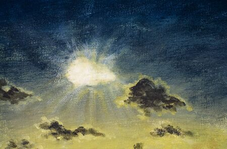 Rays sun and glowing clouds on a yellow-blue sky - a fragment of acrylic painting on canvas