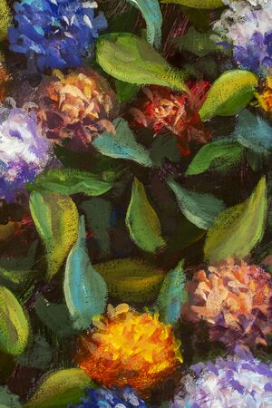 Beautiful flowers background oil painting for wedding scene