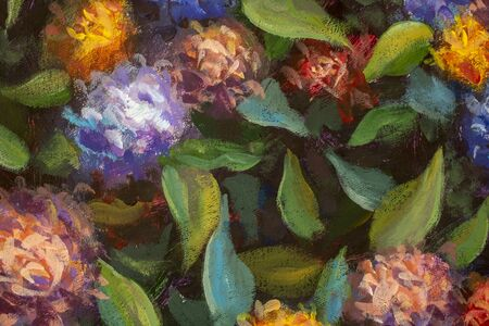 Abstract background of flowers. Close-up fragment painting on canvas