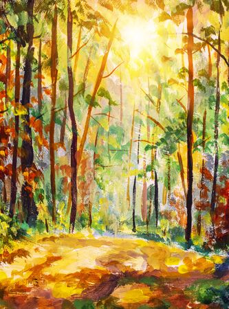 Vertical oil painting Autumn forest. Fall background illustration. Autumn landscape art. Sunny forest with sunlight. Fall trees with colorful leaves. Zdjęcie Seryjne
