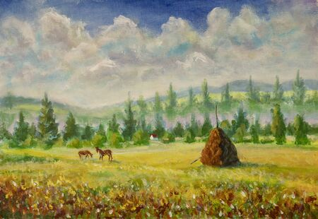 Countryside painting with horses and haystack Stock fotó