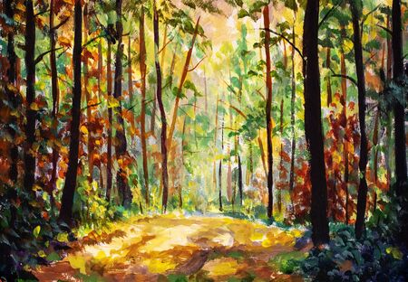 Hand painted Autumn nature landscape art. Sunny autumn forest painting. Beautiful colorful trees in woodland illustration. Scenic wild nature artwork Zdjęcie Seryjne