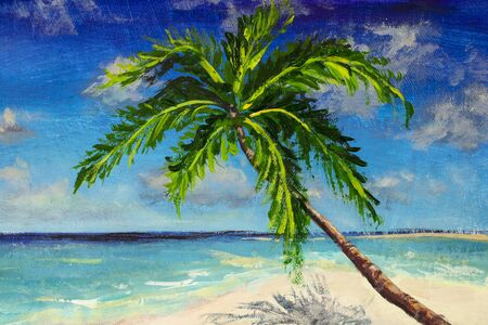 Painting Beautiful tropical island like Maldives with beach, sea, and coconut palm tree on blue sky for nature holiday vacation background concept artwork illustration Zdjęcie Seryjne