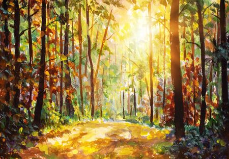 Oil painting Autumn forest nature. Vivid morning in colorful forest with sun rays through branches of trees. Scenery of nature with sunlight
