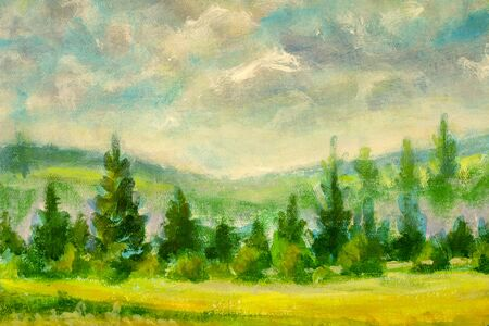 beautiful countryside illustration with green trees in warm summer landscape - rural impressionism plein air painting field painting