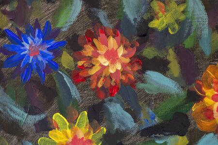 Beautiful flowers abstract painting, watercolor illustration artistic background