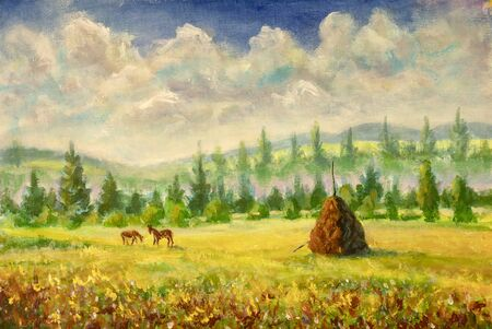 beautiful village rural landscape farm country impressionism plein air painting agriculture fields countryside illustration Stock Photo