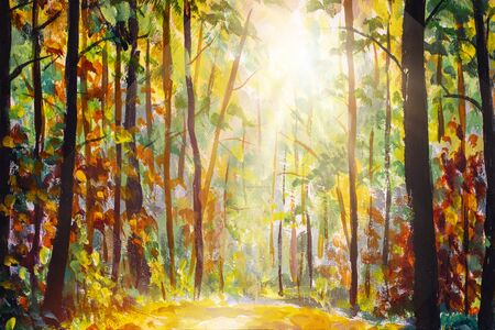 Fall acrylic painting. Fall forest art. Forest landscape illustration. Autumn nature artwork. Sunshine in forest. Sun shines through trees. Path in natural park with autumn trees. Zdjęcie Seryjne