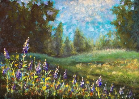 Beautiful nature. Flower landscape: purple flowers on a green field against the background of the forest. Oil painting.