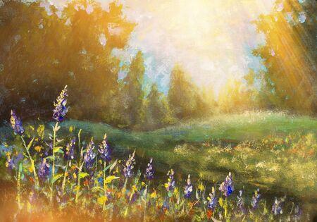Paisaje de flores soleadas - pintura al óleo. Hermosas flores de color púrpura en los cálidos rayos del sol.