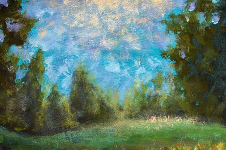 Beautiful landscape: Glade in the forest on a background of blue sky - warm illustration, painting acrylic fragment