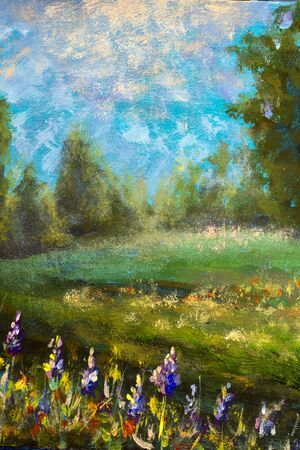 Vertical oil painting - natural beautiful landscape: park, field of flowers and green forest against the blue sky.