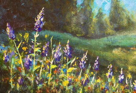 Beautiful purple flowers lit by the sun against a forest - original oil painting on canvas. Stock Photo