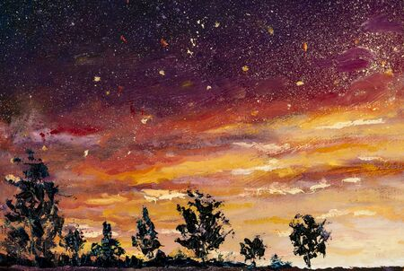 Beautiful sunset dawn, yellow warm starry sky with clouds, black night silhouettes of trees - oil painting Standard-Bild