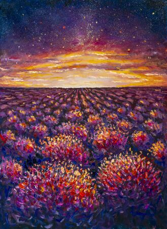 Campo de lavanda de flores púrpuras al atardecer Dawn Pintura al óleo Cuchillo de paleta Impresionismo moderno Foto de archivo