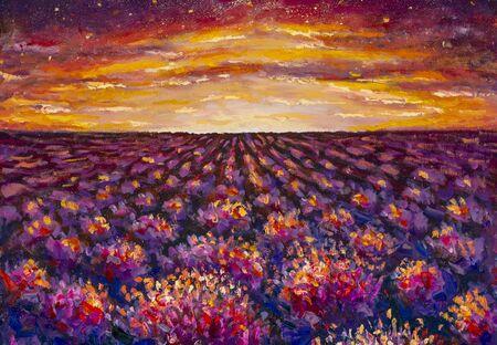 Impresionismo exuberantes flores de color púrpura al atardecer. Campo de lavanda, amanecer cálido - óleo y acrílico sobre lienzo Foto de archivo