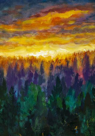 Vertical artwork Magic orange clouds Bright dawn over misty foggy purple forest, fog between trees oil painting. Art fiery dawn landscape illustration Banco de Imagens