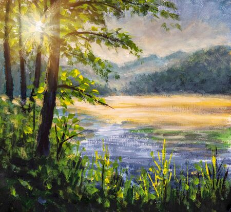 The first rays of sun on foggy river - beautiful European landscape handmade oil painting 写真素材