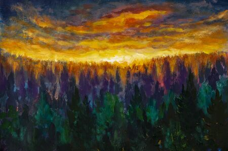 Oil Painting - Beautiful fiery sunrise sunset over a foggy forest Banco de Imagens