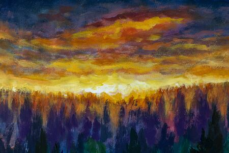 Magic orange clouds Bright dawn over misty foggy purple forest, fog between trees oil painting. Art fiery dawn landscape illustration