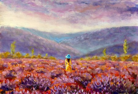 Original impressionism painting Provence, France. Girl woman in yellow dress and hat walking trough lavender fields at sunset warm summer romantic landscape.