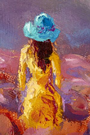 Beautiful girl in a yellow dress close-up in a flower field - Oil painting romantic landscape