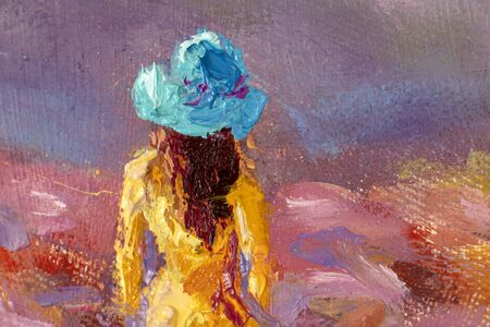 Beautiful girl in a yellow dress close-up in a flower field - Oil painting romantic landscape Standard-Bild
