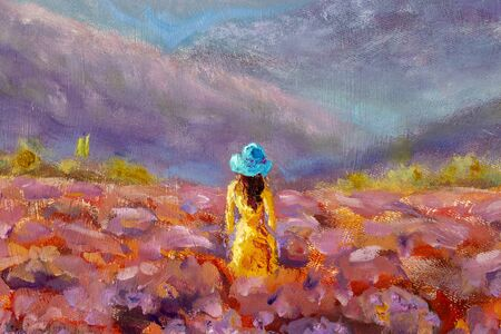 Oil Painting Beautiful Girl stands with her back in a lavender pink flower field - floral French Tuscan landscape Imagens