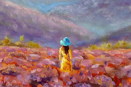 Peinture à l'huile Belle fille se tient le dos dans un champ de fleurs rose lavande - paysage floral toscan français