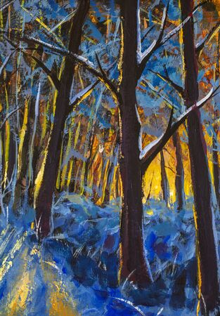 Trees in winter forest - original oil painting artwork vertical