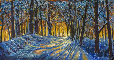 Warm orange dawn in a cold blue winter forest - modern oil painting impressionism - winter forest, trees in snow Standard-Bild