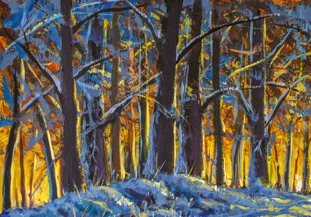 Bosque de invierno. Cálido y soleado paisaje de invierno impresionismo pintura al óleo moderna sobre lienzo. brillantes rayos de sol sobre la nieve fría. concepto de comienzo de primavera.