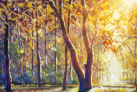 Schöner sonniger Herbstwald - goldorange warme Herbstlandschaft. Modernes modisches Ölgemälde auf Leinwand. Standard-Bild