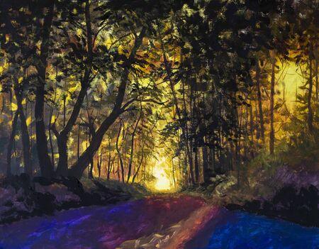 Pintura de arte Bosque escénico de árboles de hoja caduca verdes frescos enmarcados por hojas, con el sol proyectando sus cálidos rayos a través del follaje Foto de archivo