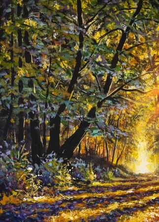 Painting Forest Road Under Sunset Sunbeams. Lane Running Through Autumn Deciduous Forest At Dawn Or Sunrise Zdjęcie Seryjne