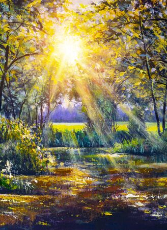 Pintura de la carretera forestal bajo los rayos del sol al atardecer. Lane que atraviesa el bosque caducifolio de otoño al amanecer o al amanecer