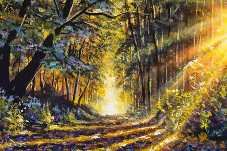 Oil painting fine art Warm and sunny day and beautiful magic forest path Zdjęcie Seryjne