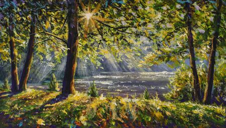 Walk in sunny sunlight forest woods painting. Pleasant weather. Sun rays play in the branches of trees.