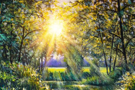 Impressionism oil painting Beautiful morning in the forest