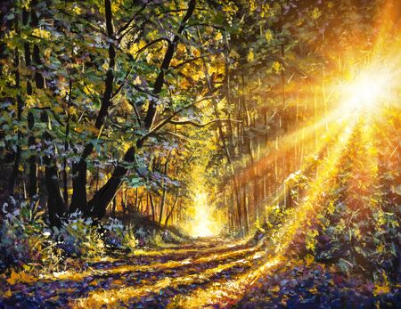 Original oil acrylic painting Sunny Forest in Autumn