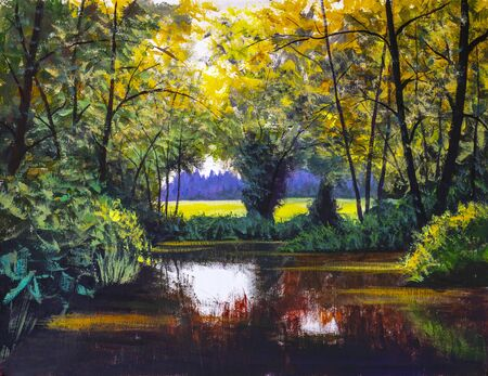Original oil painting river lake pond sea in sunny sun sunlight forest wood trees impressionism landscape