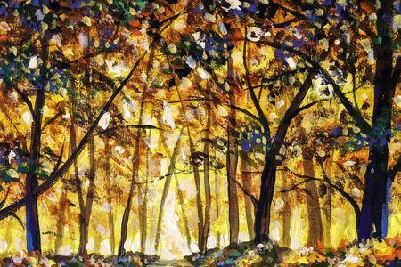 Original oil acrylic painting art - gold orange autumn forest landscape Reklamní fotografie