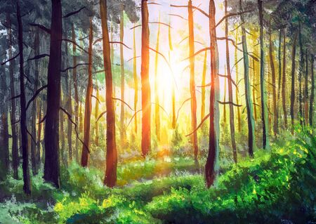Fine art painting Summer Sunny Forest Trees And Green Grass. Nature park alley Wood Sunlight Background landscape