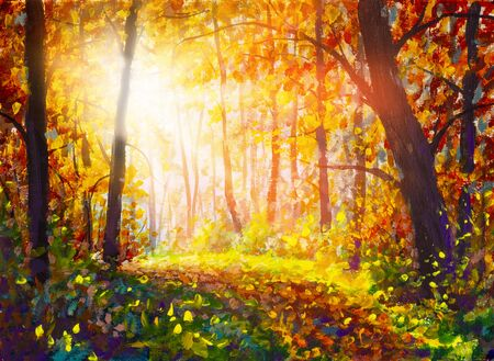 Sentiero per pedoni attraverso la foresta nebbiosa in autunno illuminato dall'illustrazione moderna dell'opera d'arte della pittura a olio dei raggi di sole