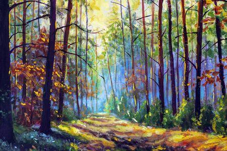 Impresionismo pintura al óleo moderna otoño bosque parque callejón luz solar paisaje obra de arte. Arte soleado