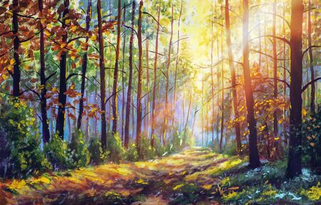 Original oil painting gorgeous forest in autumn, scenic landscape with pleasant warm sunshine fine art
