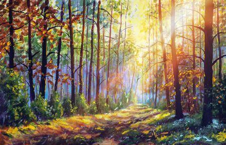 Peinture à l'huile originale forêt magnifique en automne, paysage pittoresque avec un beau soleil chaud et agréable