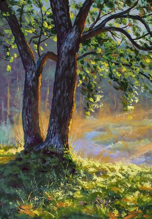 Big trees on sun russian morning on river landscape fine art hand painted acrylic painting expressionism artwork nature