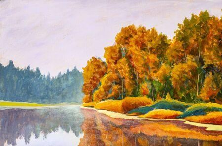 Original sur peinture sur toile de l'artiste Automne sur rivière. Beaux-arts de nature de paysage de mer russe Banque d'images